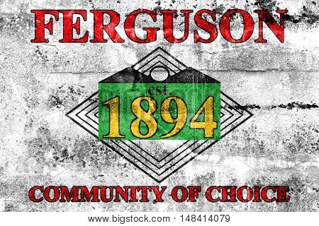 Flag Of Ferguson, Missouri, Usa, Painted On Dirty Wall