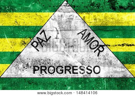 Flag Of Ferros, Minas Gerais State, Brazil, Painted On Dirty Wall