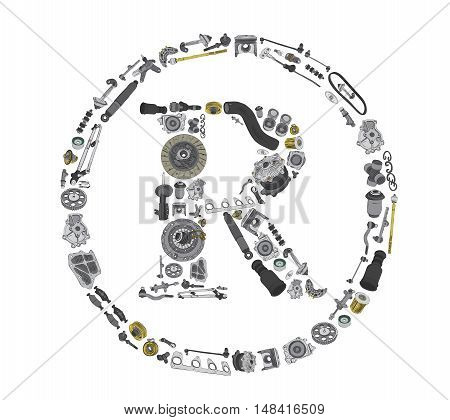 Trade Mark icone with auto spare parts for car