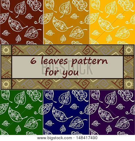 Six seamless leaves pattens in different colors