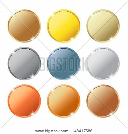 Coins Of Different Metals Isolated On White Background Set
