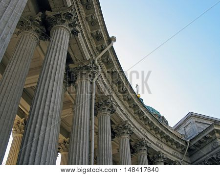 Kazan Cathedral in St. Petersburg. Fragment of Kazan Cathedral. Sobor. Landmark. Tourist attraction. Architectural monument. Monument of architecture. Historic monument. Historic building. Saint Petersburg. Russia.