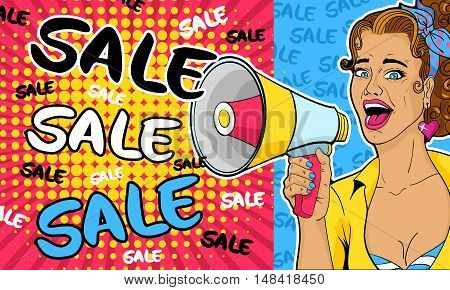 Sale. Sexy pop art woman with open mouth and megaphone speaking. Vector background in comic retro pop art style.