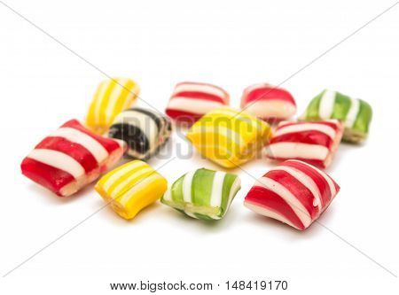 candy  jellybeans lollipops isolated on white background