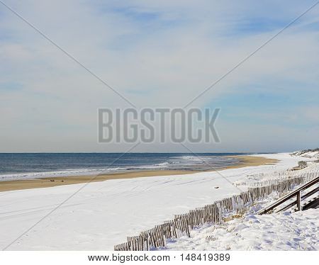 Atlantic ocean waves on the beach at Hamptons, Long Island, New York, Suffolk County in Winter, 2016