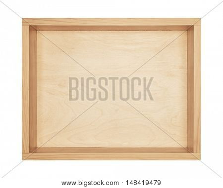 Empty yellowish wooden box. Made of pine, isolated on white background.