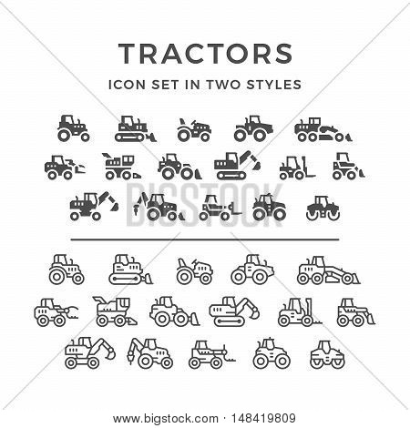 Set line icons of tractors, farm and buildings machines, construction vehicles in two styles isolated on white. Vector illustration
