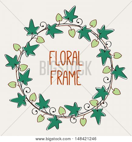 romantic floral frame circle frame vector isolated illustration with round floral wreath on pale background with place for text