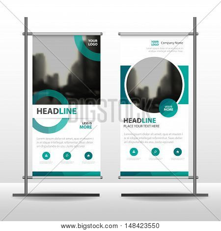 Green Abstract circle Business Roll Up Banner flat design template ,Abstract Geometric banner template Vector illustration set, abstract presentation template