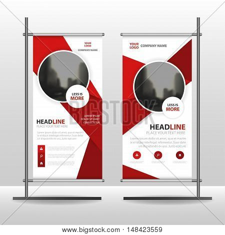 Red Abstract circle Business Roll Up Banner flat design template ,Abstract Geometric banner template Vector illustration set, abstract presentation template