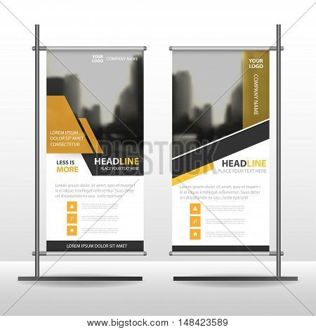 Yellow black Abstract Business Roll Up Banner flat design template ,Abstract Geometric banner template Vector illustration set, abstract presentation template