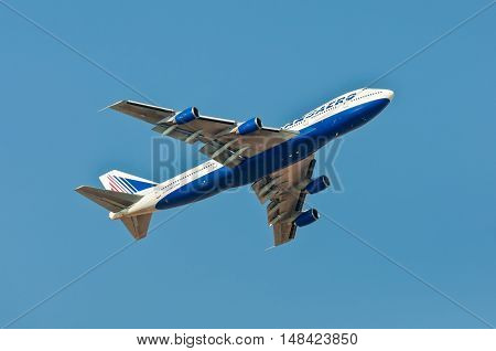 Sharm El Sheikh Egypt - November 28 2010: Boeing 747-200 Transaero Airlines climbing after takeoff from the Sharm El Sheikh International Airport (SSH) Egypt at November 28 2010. Transaero is an airline with its head office on the grounds of Domodedovo In