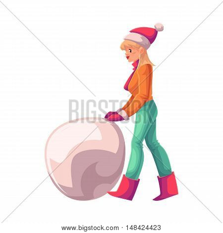 Pretty young woman making a snowman, cartoon vector illustration isolated on white background. Full height portrait of a beautiful blond haired woman making a big snowman