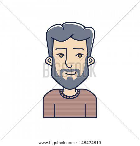 Man face expression avatar icon. Vector linear boy avatar