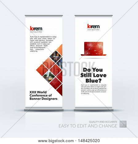 Vector set of modern roll Up Banner stand design with abstract blue geometric shapes on polygonal background with overlap effect for business and finance. Brochure and presentation for exhibition.