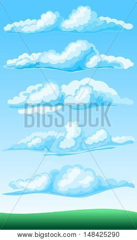 set of cartoon clouds on a blue background