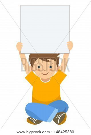 Vector hand drawn cartoon character illustration of a little boy sitting with legs crossed holding up a blank sign. Editable text sign template design element in contemporary flat vector style.