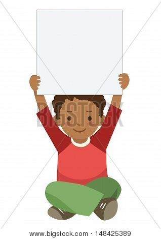Vector hand drawn character illustration of cute African American elementary school boy sitting cross legged holding up a blank sign. Children themed design element template in contemporary flat style