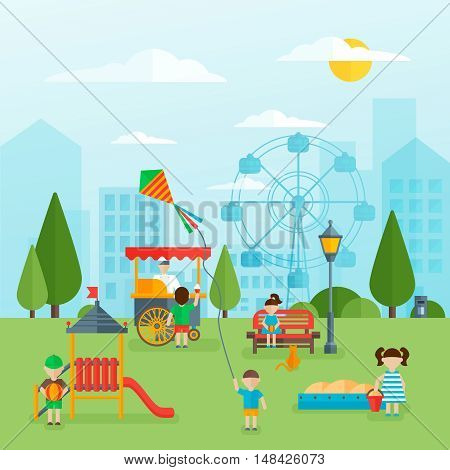 Playground flat concept with children slide and sandbox street food green trees cityscape in background vector illustration