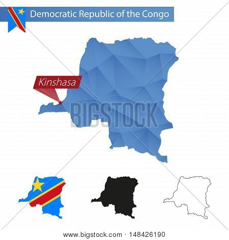 Democratic Republic Of The Congo Blue Low Poly Map With Capital Kinshasa.