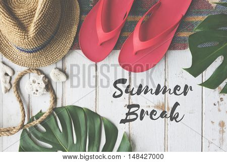 Summer Break Lifestyle Flipflop Vacatoin Words Concept