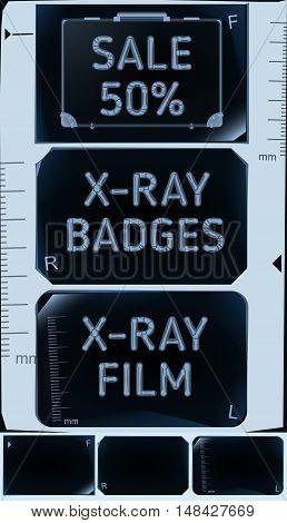 X-ray banners. Roentgen badges set. Sale 50%. Vector illustration