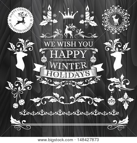 Christmas decorations snowflake badges holiday frames labels and stickers with text horizontal dividers and borders holly ornaments xmas stamps icons and other winter seasonal design elements.