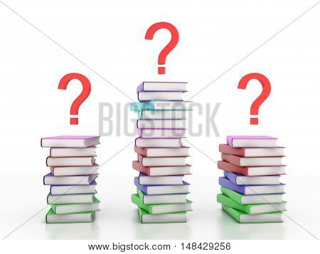 Books with Question mark Symbol - 3D Rendering Image