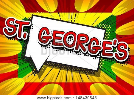 St. George's - Comic book style text.