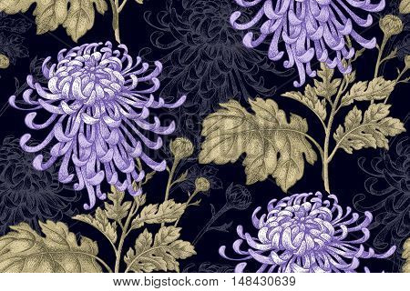 Vector seamless floral pattern. Japanese national flower chrysanthemum. Illustration luxury design textiles paper wallpaper curtains blinds. Leaves branch lilac flowers on black background.