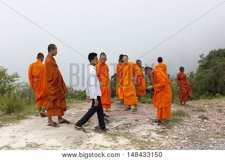 Monks Visiting Kep In Cambodia.