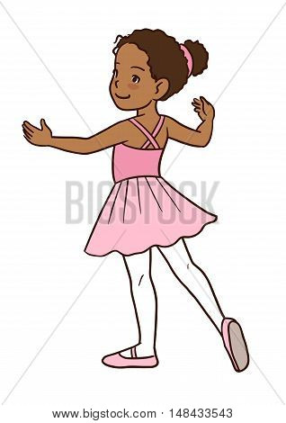 Vector cartoon hand-drawn illustration of a dark skinned cute little ballerina girl standing in a ballet position with pointed toe and arms to the sides wearing pink tutu and leotard.