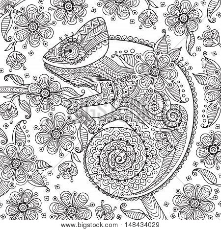 Black and white vector illustration with a chameleon in ethnic patterns on the flowering branch. It can be used as a coloring antistress for adults and children.