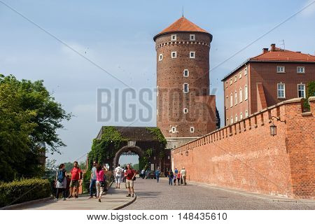 POLAND, KRAKOW - MAY 27, 2016: Medieval Sandomierska Tower on a hill as part of the Wawel Castle in Krakow. Near the Bernardine Gate.