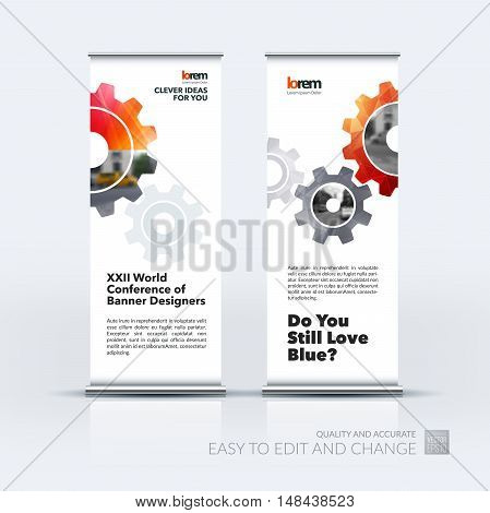 Vector set of modern roll up banner stand design with red gear and polygonal background for engineering, construction and hi-tech. Corporate vector vertical flyer for exhibition and show.