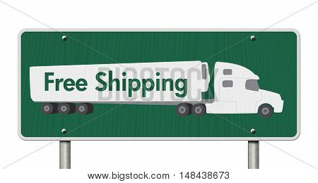 Free Shipping Road Sign A green Road Sign with text Free Shipping and a truck isolated over white 3D Illustration
