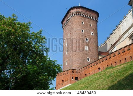 Medieval Senator tower on a hill as part of the Wawel Castle in Krakow. Poland.