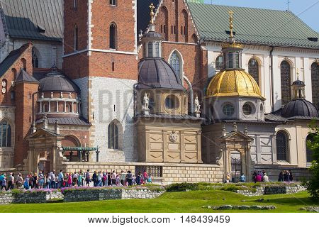 View of the Wawel Royal Archcathedral Basilica of Saints Stanislaus and Wenceslaus on the Wawel Hill, Krakow, Poland.
