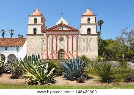 SANTA BARBARA, CALIFORNIA - SEPTEMBER 21, 2016: Cactus garden at the Santa Barbara Mission. Founded in 1786, the present day church was destroyed by an earthquake in 1925 and later restored.