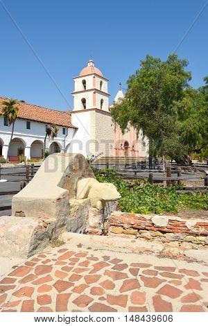 SANTA BARBARA, CALIFORNIA - SEPTEMBER 21, 2016: Washing Basin Santa Barbara Mission. The Lavanderia served as the missions laundry.