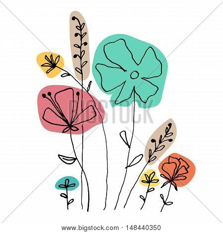 Cute doodle colorful flowers on white background