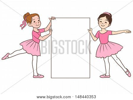 Vector cartoon character illustration of two cute little ballerina girls dressed in pink leotards and tutus holding a blank sign template. Multicultural Caucasian and Asian girls in ballet positions