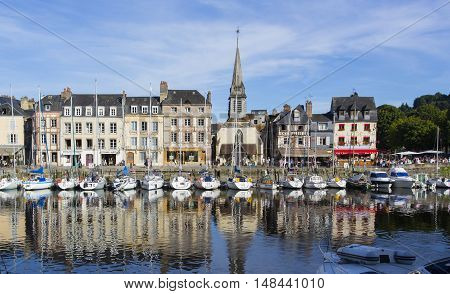 Normandy, Traditional Houses And Boats In The Old Harbor Basin