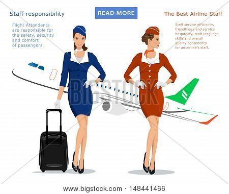 Flight attendants vector concept for web banner: stewardess in blue uniform with suitcase, stewardess in red suit and flying plane on background. Beautiful young women. Vector illustration.