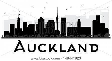 Auckland City skyline black and white silhouette. Vector Illustration. Simple flat concept for tourism presentation, banner, placard or web site. Business travel concept. Cityscape with landmarks