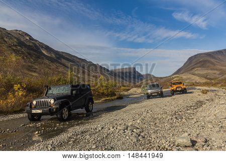 Kola Peninsula, Murmansk region, Russia, September 12, 2016, off-road expedition in a jeep on the Kola Peninsula, the Jeep Wrangler is a compact four wheel drive off road and sport utility vehicle