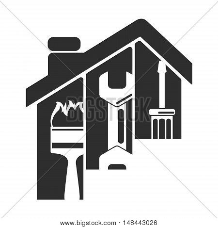 Home repair symbol tool under the roof silhouette