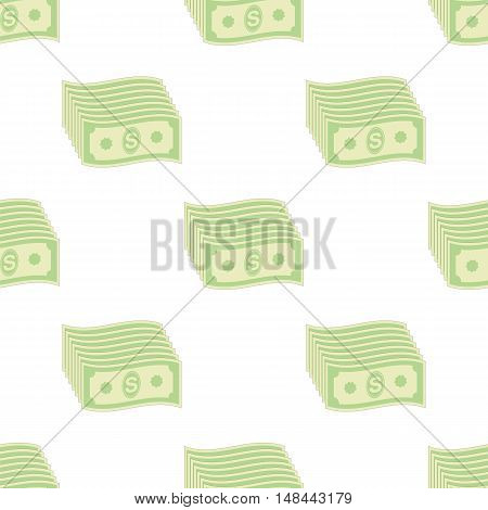 Set of Paper Dollars Seamless Pattern on White Background. American Banknotes.