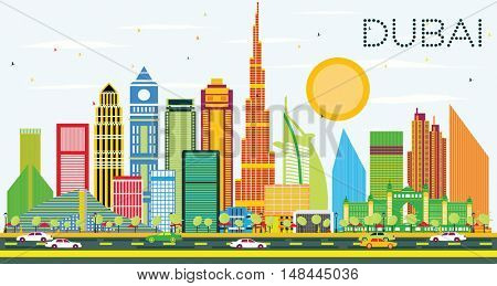 Dubai Skyline with Color Buildings and Blue Sky. Vector Illustration. Business Travel and Tourism Concept with Modern Buildings. Image for Presentation and Banner.