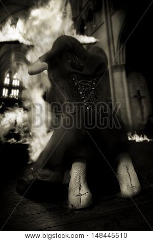Salem witch burning church on Halloween against inquisition